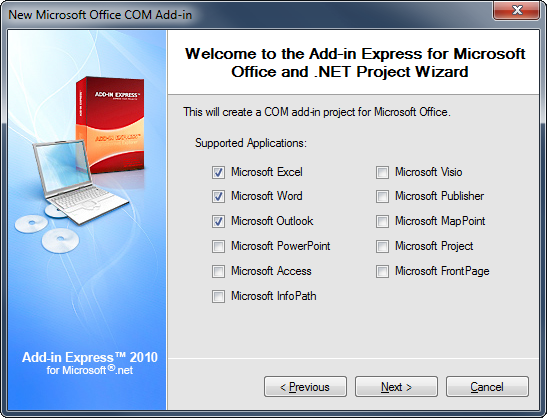 Selecting the Microsoft Office applications to be supported by your add-in