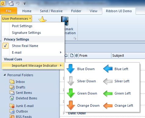 A custom ribbon tab in Microsoft Outlook