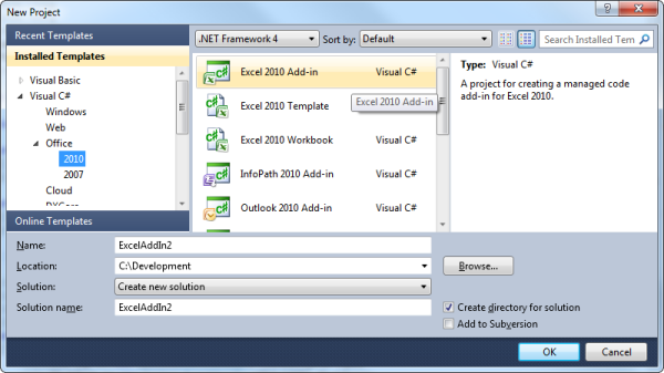 Creating an Excel 2010 add-in project in Visual Studio