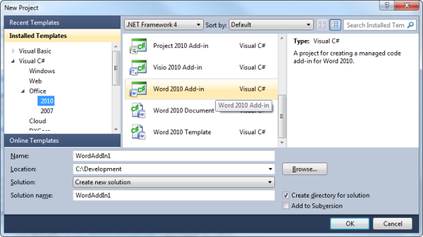Creating a Word 2010 add-in project in Visual Studio