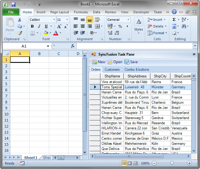 Task pane with SyncFusion controls