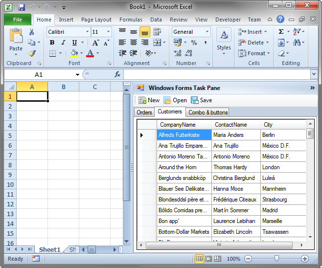 Task pane with Windows Forms controls