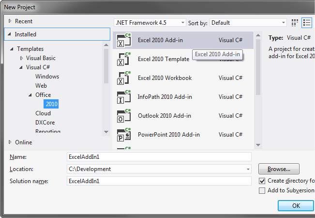 Creating a new Excel 2010 Add-in project in Visual Studio