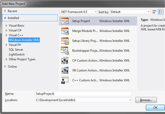 WiX project types in Visual Studio