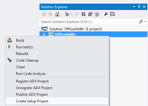 Creating a setup project for an Add-in Express based Office add-in in Visual Studio 2012