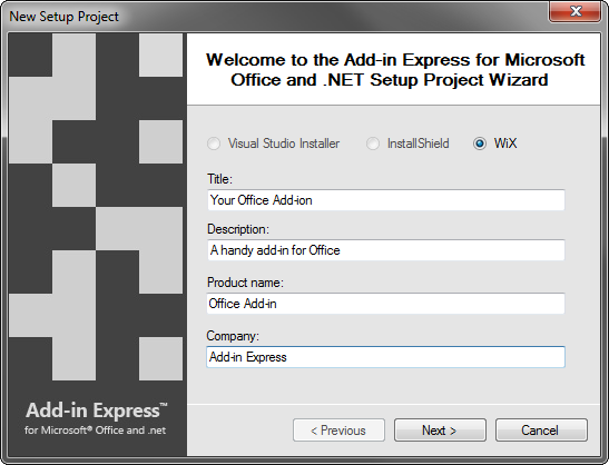 The New Setup Project wizard provided by Add-in Express