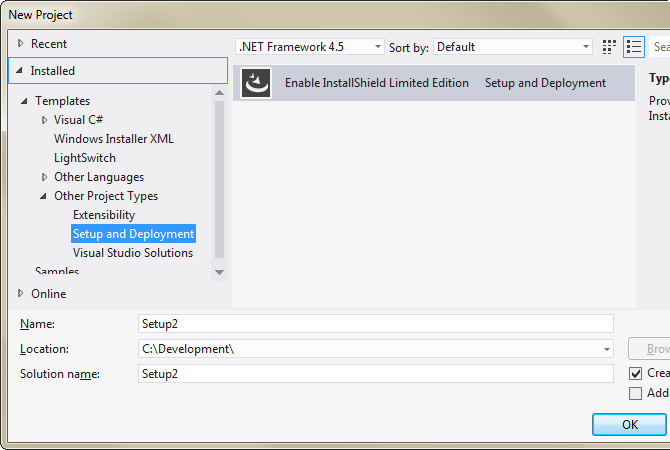 Installer project types in Visual Studio 2010