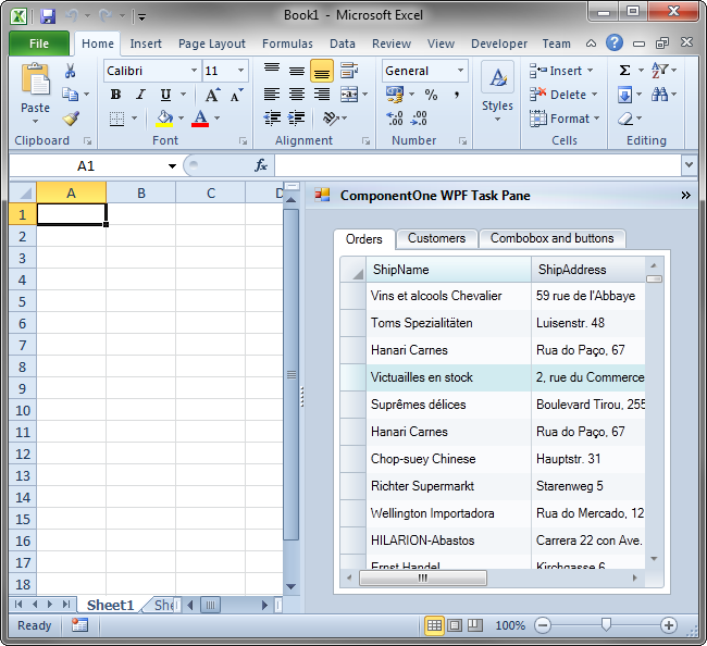 Task pane with ComponentOne WPF controls