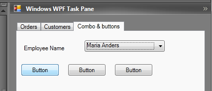 Standard WPF combo box and buttons