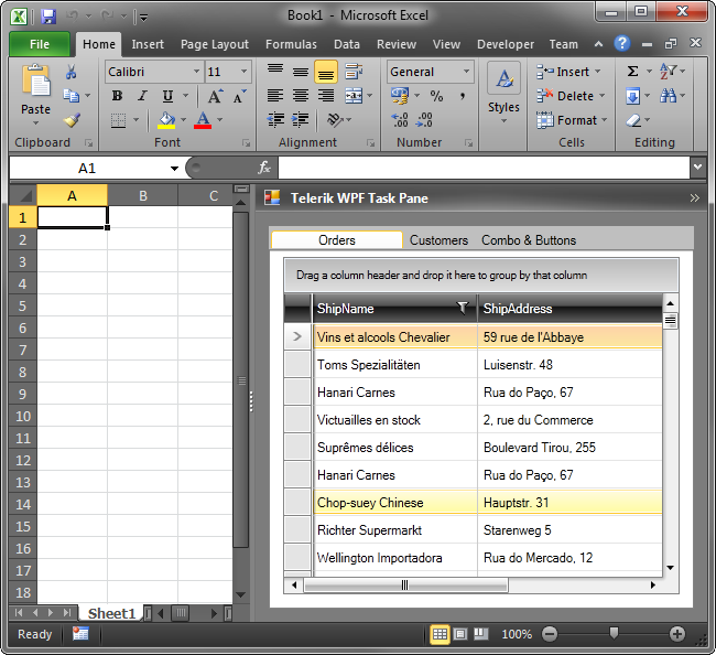 Task pane with Telerik WPF controls