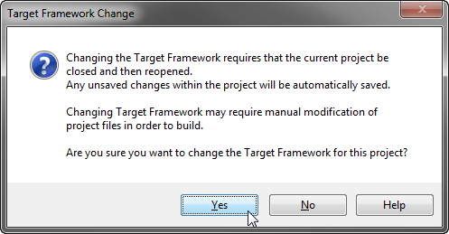 A warning when setting the target .NET Framework version