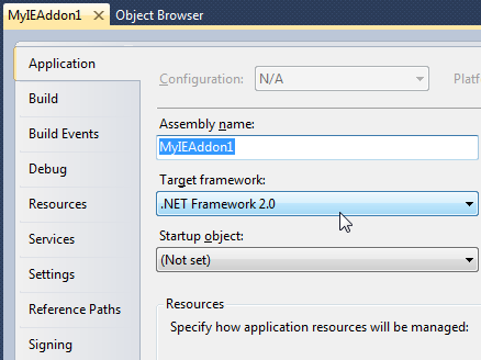 How to set the target .NET Framework version in a C# project