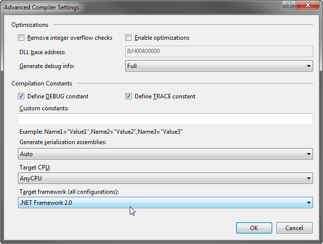 How to set the target .NET version in a VB.NET project, step #2