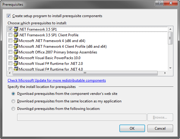 Specifying .NET version in prerequisites of a setup project VS 2008-2010