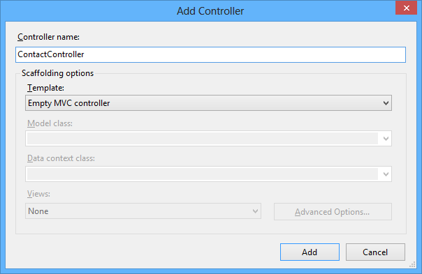 Adding a new ContactController class to the Controllers folder