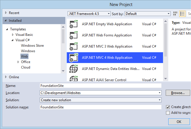 Creating a new ASP.NET MVC 4 Application in Visual Studio