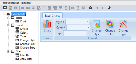 Three dropdowns and buttons added to the custom Excel ribbon tab
