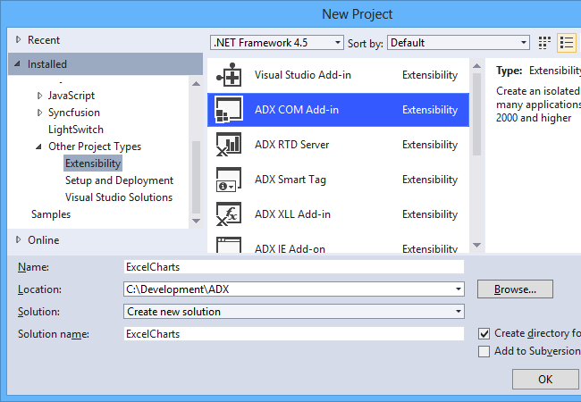 Creating a new Excel COM Add-in project in Visual Studio
