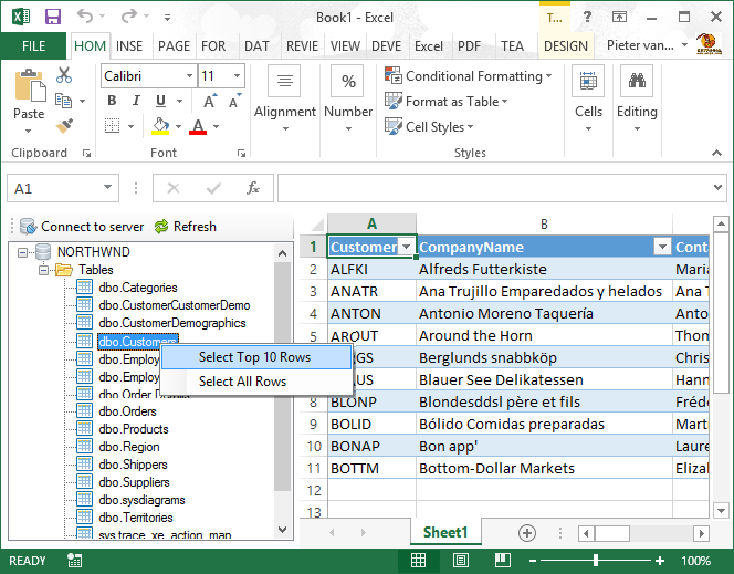 Excel: Import data from databases & other sources (SQL server and
