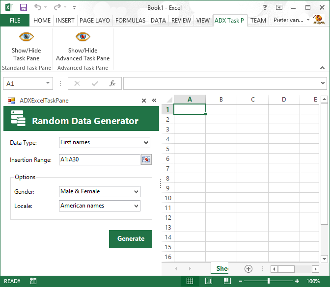 The advanced task pane and the ribbon tab in Excel 2013