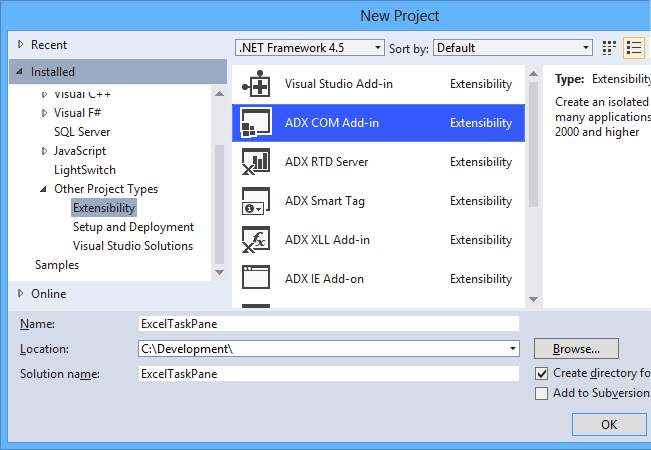 Creating an Excel COM add-in project in Visual Studio