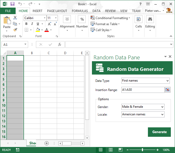 The newly created standard Office task pane in Excel 2013