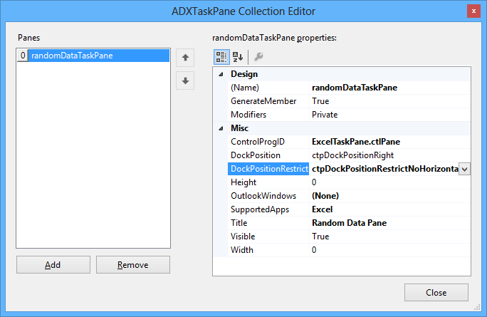 ADXTaskPane Collection Editor