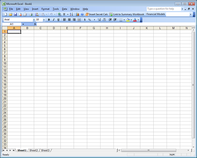 The custom tool bar integrates seamlessly in Excel 2003