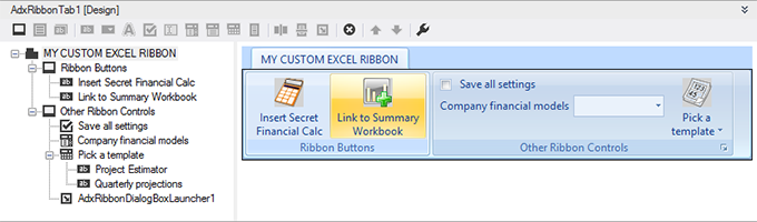 Designing a custom Excel ribbon in Visual Studio using the Add-in Express Ribbon designer