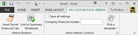 A custom Excel ribbon