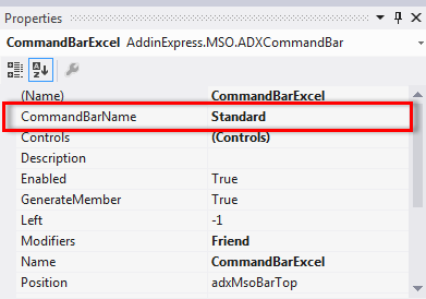 Use the CommandBarName property to specify the target toolbar