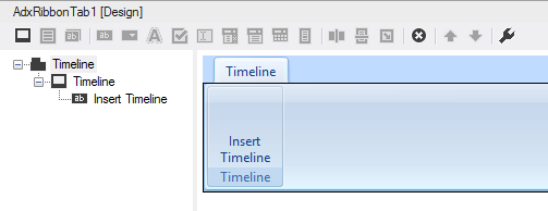 A custom Excel ribbon tab at design-time