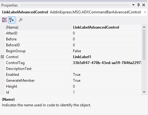 Setting the properties of the advanced link label control