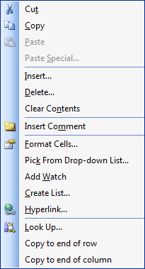 A custom context menu in Excel 2003