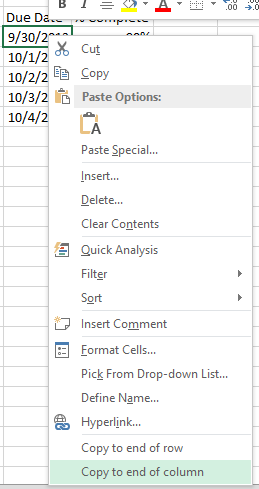 A custom context menu in Excel 2013