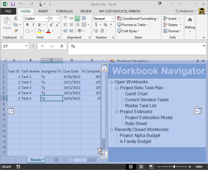 An advanced Excel task pane in Excel 2013