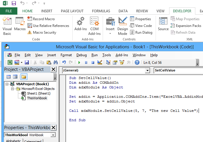 The Visual Basic for Application editor window