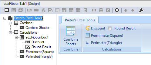 A custom Excel ribbon tab at design time