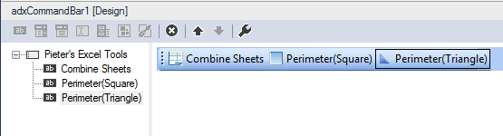 A custom Excel commandbar at design time