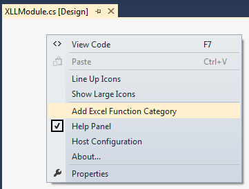 Adding an Excel Function Category