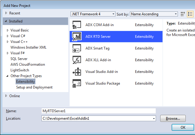 Creating a new RTD Server project in Visual Studio