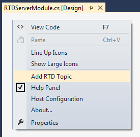 Adding a new RTD Topic to the designer surface