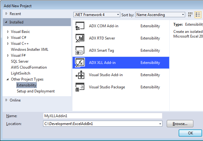 Creating a new XLL Add-in project in Visual Studio