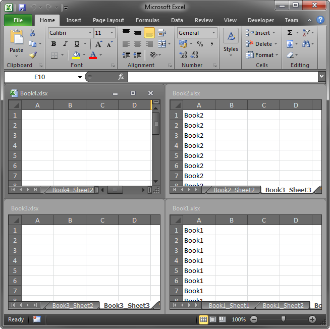 Multiple workbooks open in Excel 2010