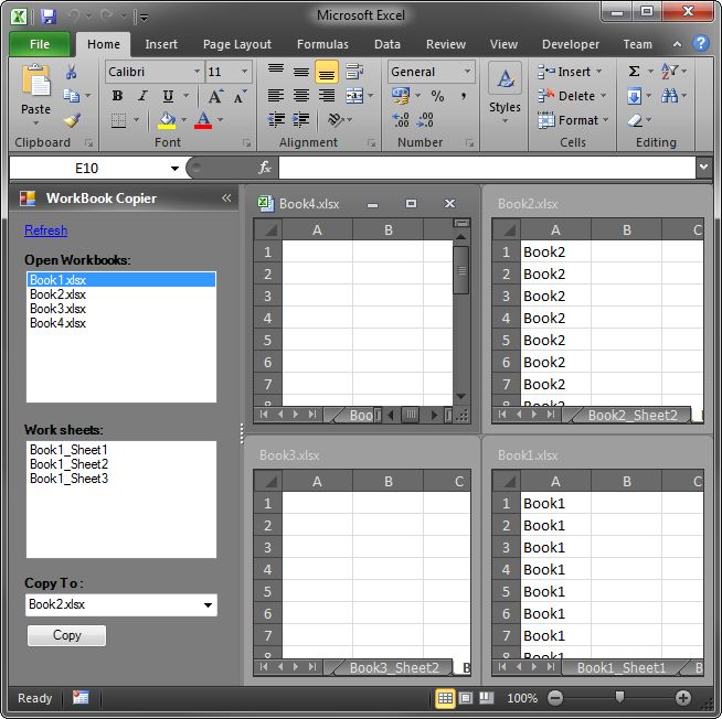 A custom task pane in Excel 2010