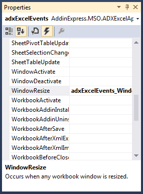 Adding a new event handler for the WindowResize event