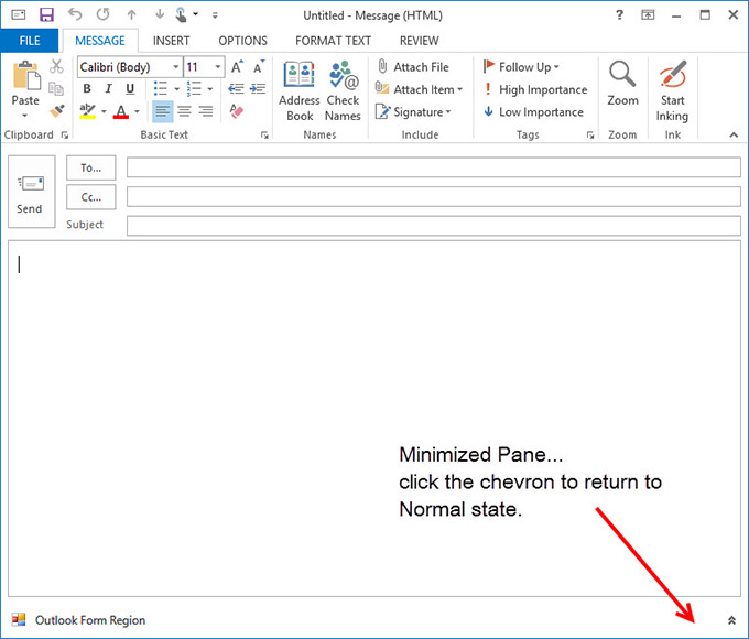 A minimized form region in Outlook 2013
