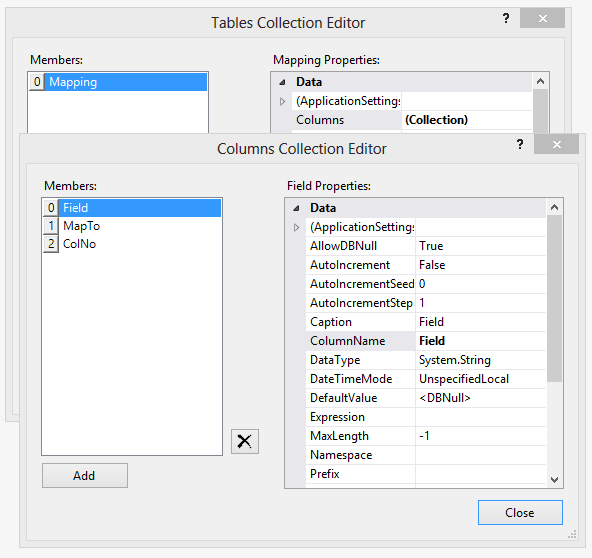 A DataSet is added to the custom form, which contains one DataTable with three DataColumns.