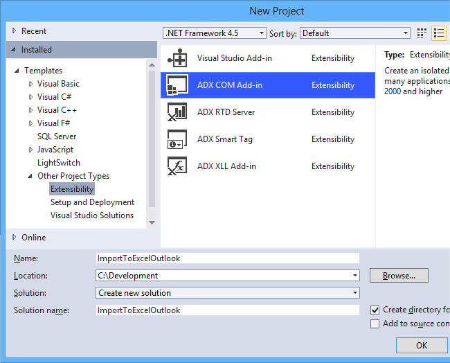 Creating a new COM add-in for Outlook and Excel in Visual Studio