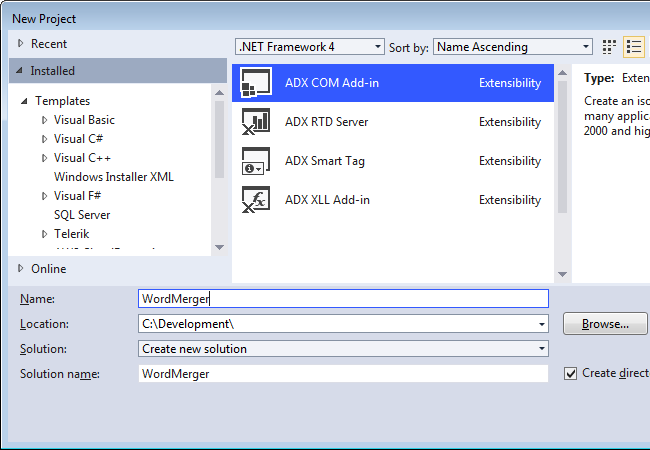 Creating a new Word COM Add-in project in Visual Studio